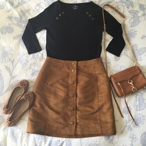 Old Navy Faux Suede Tan Button Front Skirt